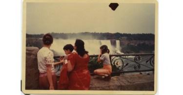 Barbara with her kids Naina and Arjun, and grandma (daddi) Indira, who is visiting from India. Anil Dewan, Niagara Falls. Dye coupler print, August 1980, 9 cm x 12.4 cm. Courtesy of Deepali Dewan.