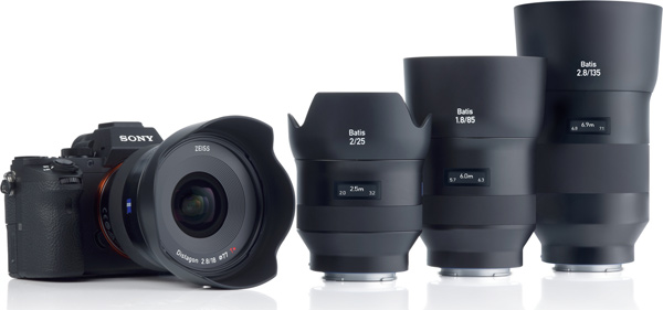 The ZEISS Batis family (left to right): 2.8/18 (with Sony's Alpha 7 system with E-mount), 2/25, 1.8/85 and the new 2.8/135