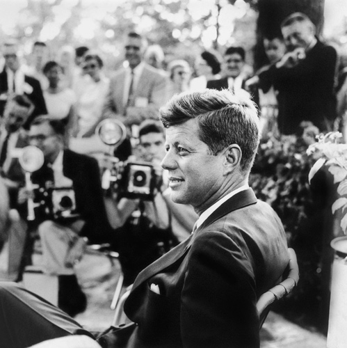 This photo of John F. Kennedy at a 1959 press conference in Omaha, Neb., was widely used on his presidential campaign materials. (Estate of Jacques Lowe)