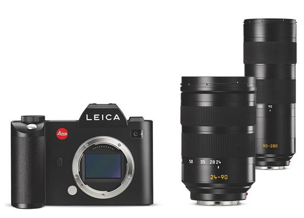 Left to right: Leica SL body, Leica Vario-Elmarit-SL 24–90 mm f/2.8–4 ASPH. lens, Leica APO-Vario-Elmarit-SL 90-280mm f/2.8-4 ASPH. lens