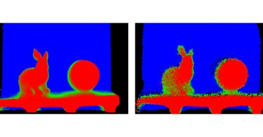 Sony Comparison of obtained depth map at the same distance: New sensor (left) and conventional sensor (right)