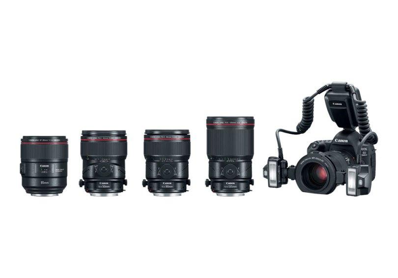 Canon (left to right): EF 85mm f/1.4L IS USM Lens, Tilt-Shift Macro Lenses: TS-E 50mm f/2.8L Macro, TS-E 90mm f/2.8L Macro and TS-E 135mm f/4L Macro; and Canon Macro Twin-Lite MT-26EX-RT Flash on Canon EOS 5D Mark IV DSLR