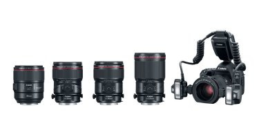 Canon (left to right): EF 85mm f/1.4L IS USM Lens, Tilt-Shift Macro Lenses: TS-E 50mm f/2.8L Macro, TS-E 90mm f/2.8L Macro and TS-E 135mm f/4L Macro; and Canon Macro Twin-Lite MT-26EX-RT Flash on Canon EOS 5D Mark IV DSLR