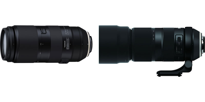Tamron (left to right): 100-400mm F/4.5-6.3 Di VC USD (Model A035), and Model A035 with Lens hood and tripod mount ring mounted on a lens. Tripod mount is an option.