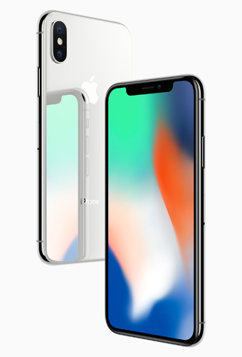 "iphone X (left to right): Silver color and Space Grey color. ""iPhone X is the future of the smartphone in a gorgeous all-glass design with a beautiful 5.8-inch Super Retina display."""
