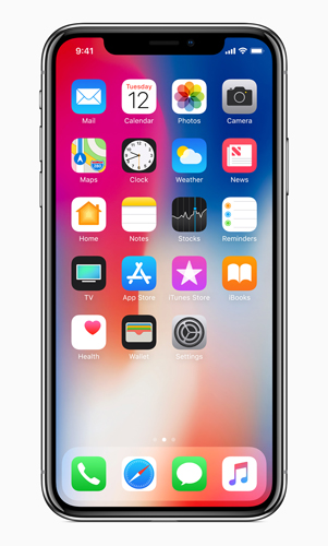 "iphone X, Space Grey color: ""The all-glass front and back on iPhone X feature the most durable glass ever in a smartphone..."""