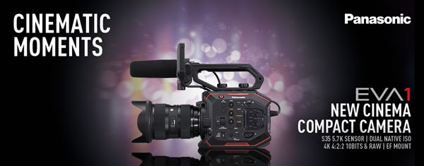 The key features of the Panasonic AU-EVA1 include: Newly-designed 5.7K Super 35mm Sensor, Dual Native ISO of 800 & 2500, V-Log / V-Gamut, High Frame Rate Recording, Run-and-Gun Capabilities, 4K 10 bit 4:2:2 & RAW