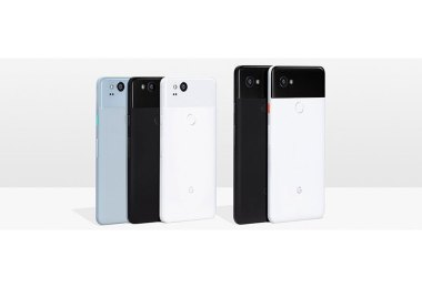 Google (left to right): Pixel 2 (Kinda Blue, Just Black and Clearly White), Pixel 2 XL (Just Black, Black & White)