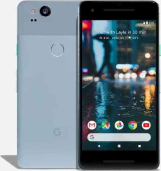 Google Pixel 2, Kinda Blue: back view (left), front view (right)