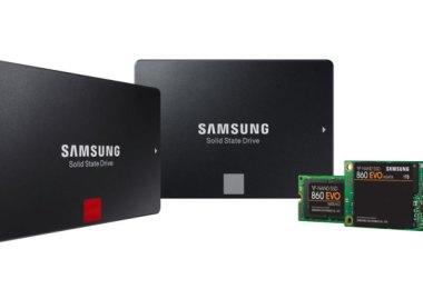 Samsung SSDs (left to right): 860 PRO 2.5 inch SATA, 860 EVO 2.5 inch SATA, 860 EVO M.2 SATA, and 860 EVO mSATA