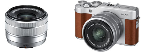 FUJINON XC15-45mmF3.5-5.6 OIS PZ lens, silver (left) and FUJIFILM X-A5, brown, (right)