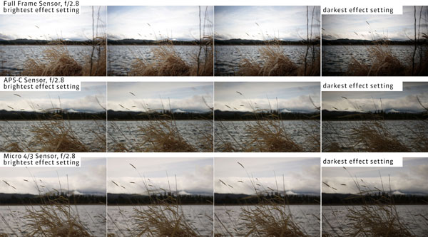 To understand how much swirly bokeh and in-camera vignette you can get on full frame, crop sensor, and micro 4/3rds cameras, please see the examples above: Images Courtesy of Lensbaby
