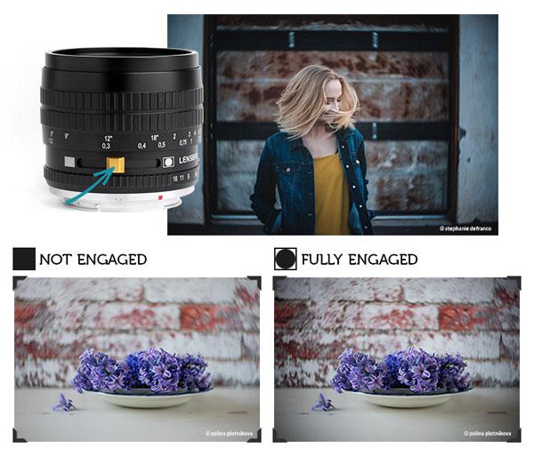 Lensbaby Burnside 35: Adjust the Slider for More Effect. Images by Stephanie DeFranco (top), Polina Plotnikova (bottom)