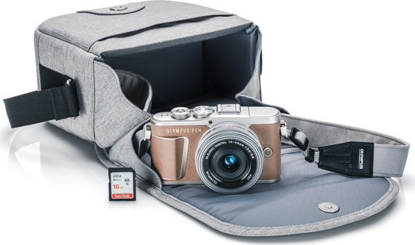 Olympus PEN E-PL9 Kit: PEN E-PL9 camera body (Honey Brown color), M.Zuiko 14-42mm F3.5-5.6 EZ lens, custom camera bag, custom camera strap, 16GB memory card, Quick Tip Card, and Quick Start Guide