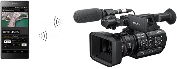 "Sony PXW-Z190 XDCAM: ""Content Browser Mobile"" software allows the camera to be operated remotely via smartphone"