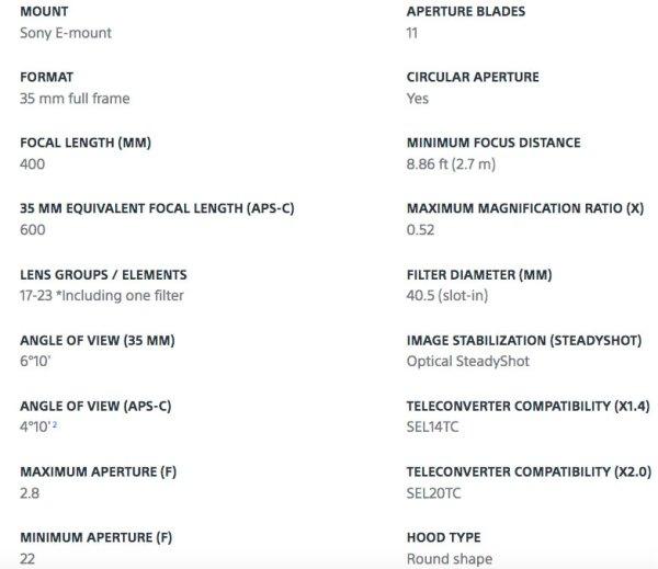 Sony FE 400mm F2.8 GM OSS Lens Specifications