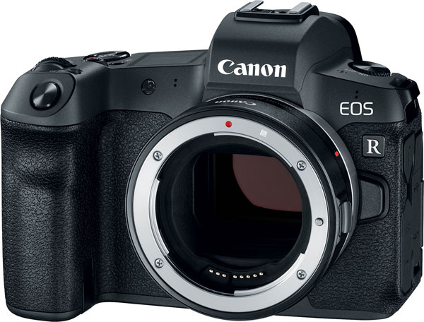 Canon EOS R with Mount Adapter EF-EOS R which connects EF and EF-S lenses to the EOS R camera