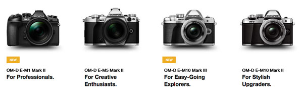 A whole line-up of Olympus OM-D cameras