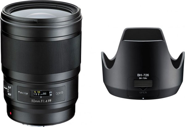 Tokina opera 50mm F1.4 FF (left) and lens hood (right)