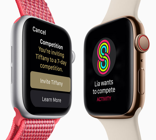Apple Watch Series 4 (GPS + Cellular): With watchOS 5, users can challenge any Activity Sharing friend to a seven-day competition.