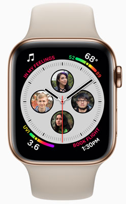 Apple Watch Series 4: Complications are enhanced to show even more information including contacts.