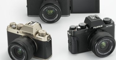 FUJIFILM X-T100 (clockwise): Dark Silver, Black, and Champagne Gold