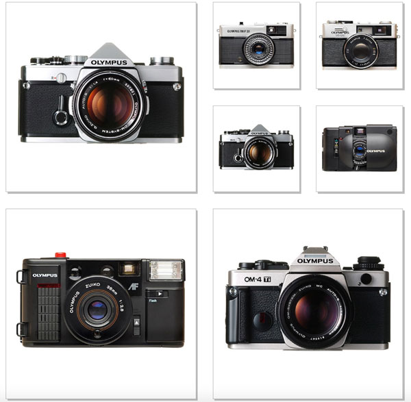 Olympus Cameras: (top row, left to right) - 1968, Olympus TRIP 35; 1971, Olympus 35DC; (middle row, left to right) 1973, OM-1 was the first product in the OM Series (it earned wide acclaim as the world's smallest and lightest 35mm single-lens reflex camera); 1975, OM-2 had the world's first TTL direct metering system, which measures light reflected off the surface of the film; 1979, XA capsule camera was fitted with a barrier-type lens cover that eliminated the need for a case; (bottom row, left to right) - 1983, the Olympus AFL was one of the first cameras powered by a lithium battery; 1986, OM-4Ti was the first 35mm focal plane camera in the world to support flash synchronization at all shutter speeds