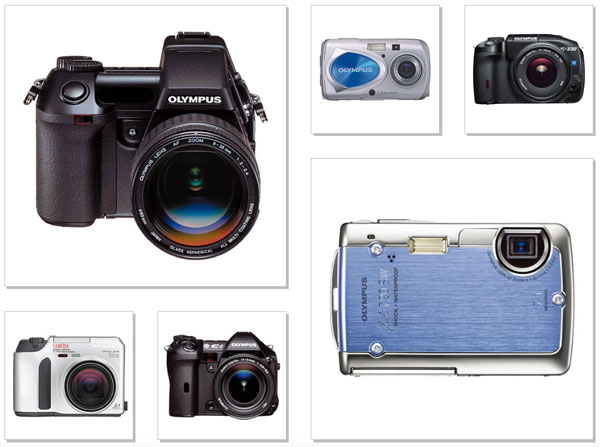 Olympus Cameras: (left-hand side, counterclockwise) - 2000, E-10 was a digital single-lens reflex camera for professionals; 2001, CAMEDIA C-700 Ultra Zoom; 2003, E-1 was the first Olympus digital single-lens reflex camera with support for exchangeable lenses; (right-hand side, clockwise), 2003, μ-10 Digital featured a metallic body and was the world's first weatherproof compact digital camera; 2006, E-330 was the world's first DSLR AF camera with Live View; 2006, μ720SW was shock-resistant and waterproof to 3m