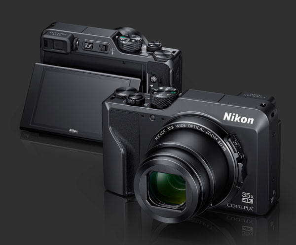Nikon COOLPIX A1000: Front and back views: 3-inch tilting touchscreen LCD