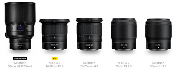 Nikkor Z S-line Lenses lineup: January 7, 2019