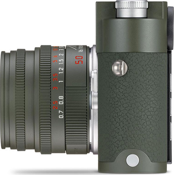Leica M10-P Edition 'Safari' Camera (left-side view) with Leica Summicron-M 50 mm f/2 Edition 'Safari' Lens