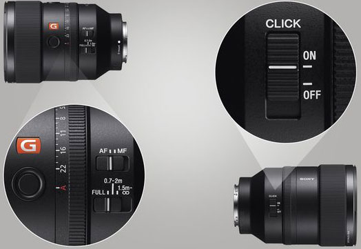 Sony FE 135mm f/1.8 GM includes a number of professional controls