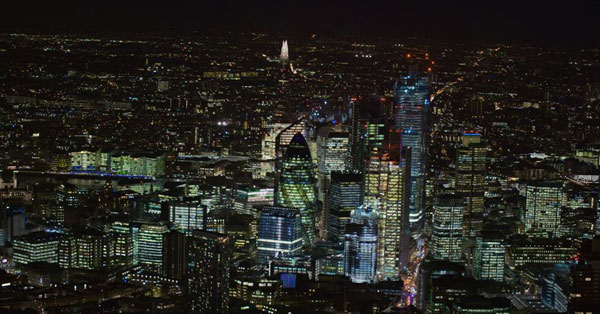 """'Illuminating London' with SonyVENICE. """"DoP Jeremy Braben, Associate BSC and aerial cameraman Jim Swanson captured some beautiful shots of some of London's most iconic landmarks by night."""""""