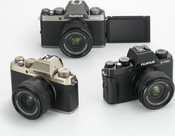 Fujifilm X-T100 (clockwise): Dark Silver, Black, Champagne Gold