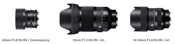 Sigma: Three models as the first lenses from this lens series for full-frame mirrorless cameras