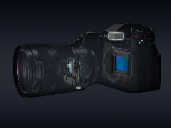 Panasonic LUMIX S1H: Combining the Body I.S. (5-axis) in the camera and the Optical Image Stabilizer (O.I.S.), 2-axis in the LUMIX S Series lens, the 5-axis Dual I.S. 2 compensates for larger movements that were conventionally uncontrollable.