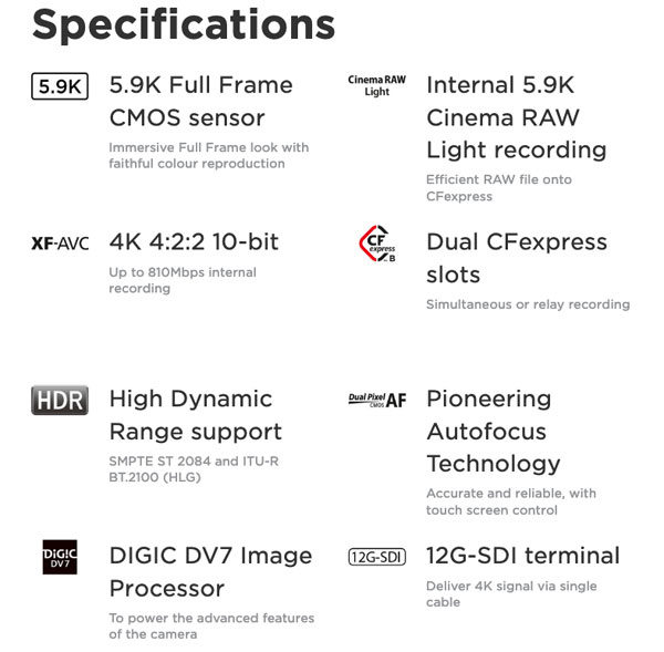 Canon EOS C500 Mark II Specifications