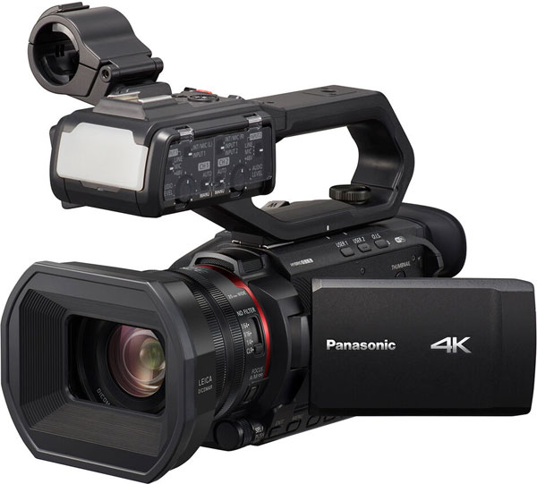 Panasonic HC-X2000 with HU1 Detachable handle which includes the built-in LED video light