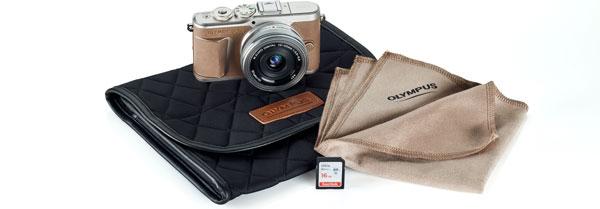 Olympus PEN E-PL10, mocha 茶 (brown), + Olympus M.Zuiko Digital ED 14-42mm F3.5-5.6 EZ Lens + camera case + lens cloth + SD memory card