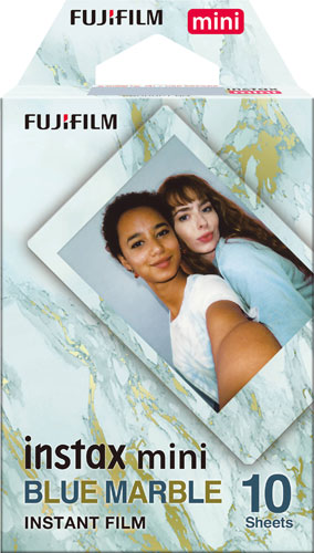 Fujifilm INSTAX® Mini Blue Marble Film features a continuous shiny blue marble pattern on the film borders