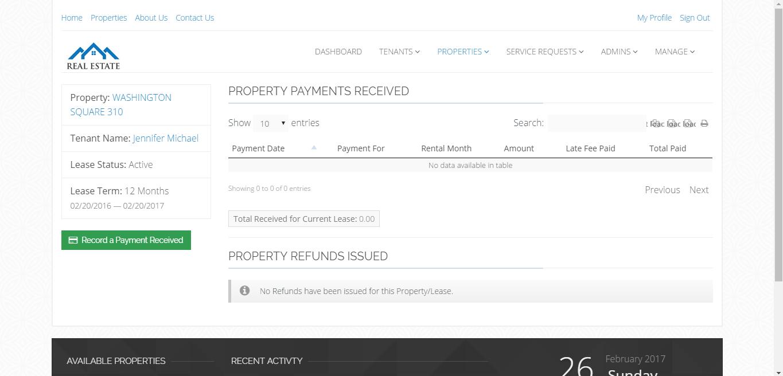 PHP based Property Management System, Rental Management