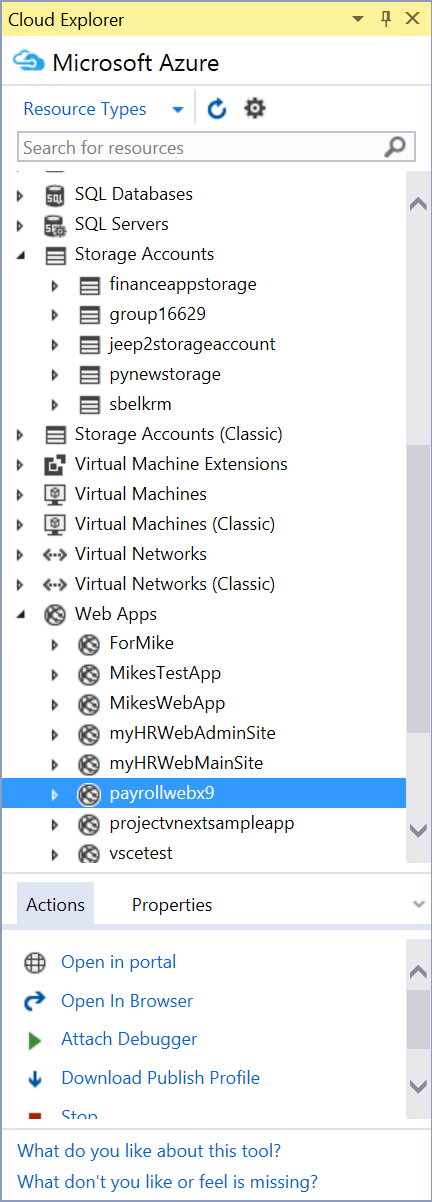 Visual Studio Cloud Explorer