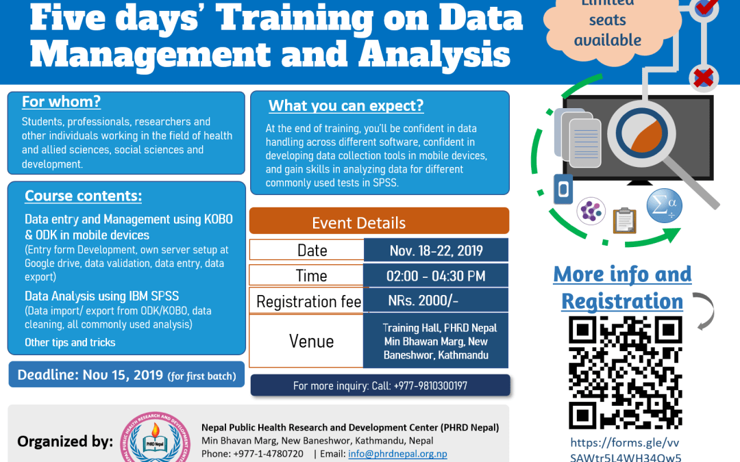 Training Opportunities: Five days training on Data Management and Analysis