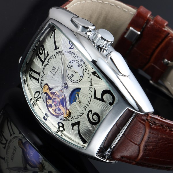 Ess Mechanical Automatic Watch Brown Leather Strap Retro