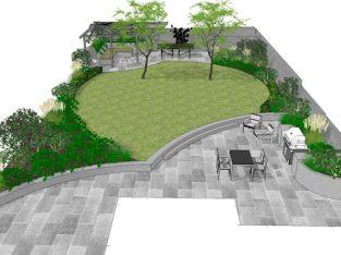 ออกแบบและจัดสวนพร้อมพื้นที่นั่งเล่น แนวร่วมสมัย
