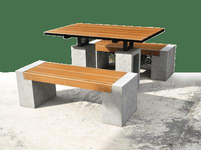โต๊ะสนาม ไม้ไฟเบอร์ซีเมนต์ (TABLESET001)