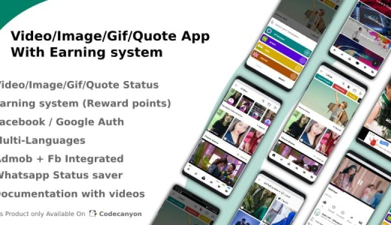 Video Image Gif Quote App With Earning system Reward points 23383405 Free Download