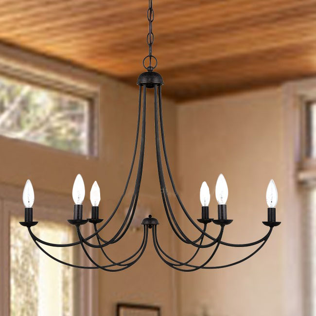 North Country Flax Shade Iron Chandelier 10088 Browse