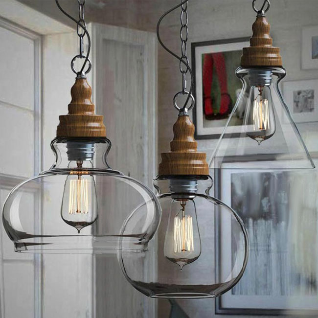 Northic Wood Cap And Clear Glass Shade Pendant Lighting 10357