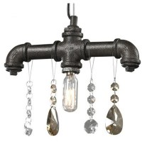 Industrial Water Pipe and Crystal Pendant Lighting 7409 ...